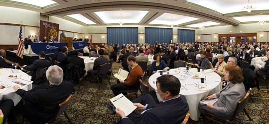 Gloucester County Chamber President Rhone Carr speaking.