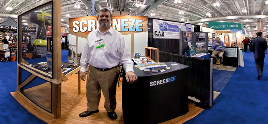 360 degree view of the Screeneze booth