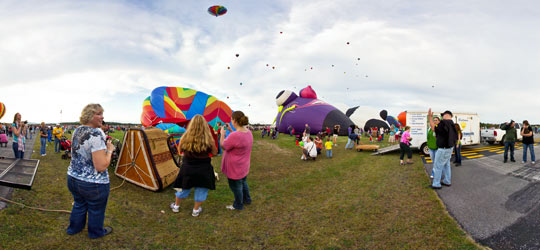 Balloons filling at the ADK Balloon Festival 2011